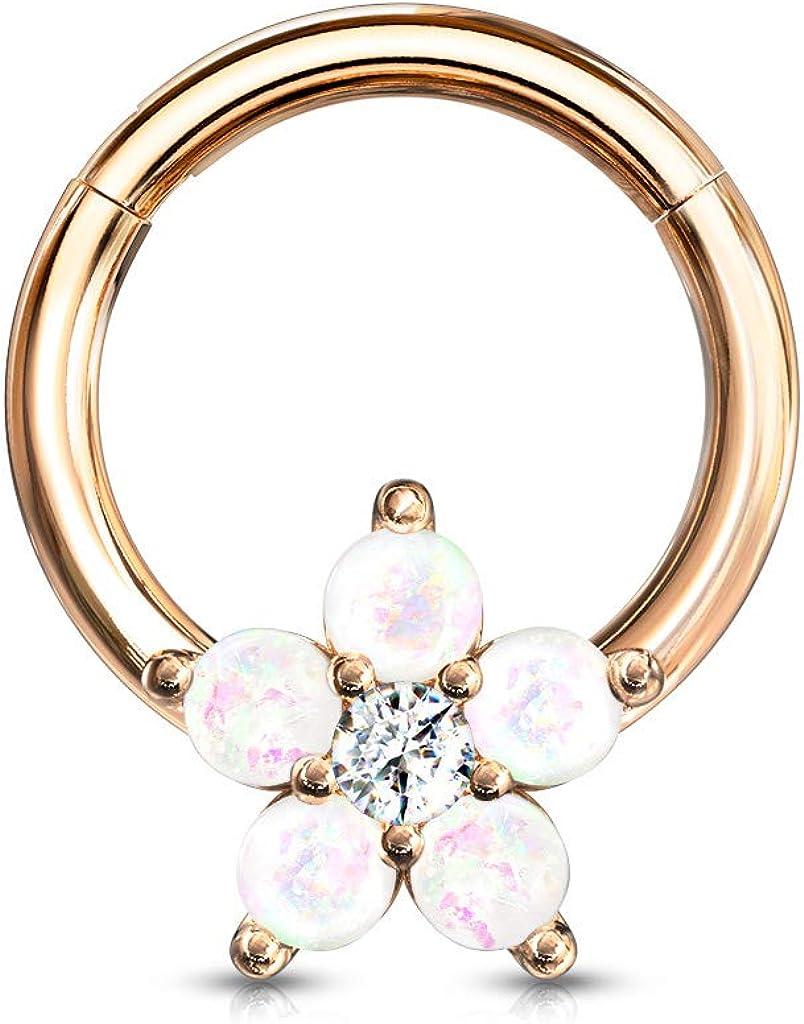 Amelia Fashion 16 Gauge Opal Glitter Flower Centered 316L Surgical Steel Hinge Hoops for Ear Cartialge, Daith, Nose Septum and More (Choose Color)