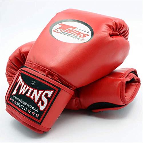 XYXZ Guantes De Boxeo MMA Kick Boxing Gloves Cuero PU Sanda Sandbag Training Guantes De Boxeo Negros Hombres Mujeres Muay Thai, Rojo, 10Oz