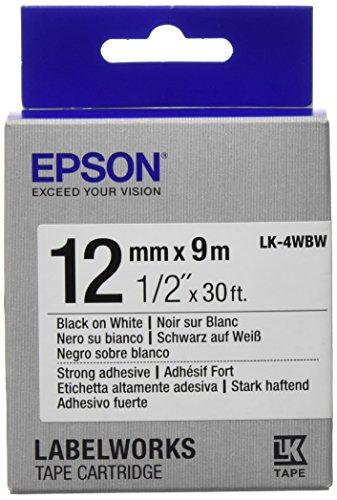 Epson LK-4WBW cinta para impresora de etiquetas - Cintas para impresoras de etiquetas (Negro sobre blanco, LabelWorks LW-1000P LabelWorks LW-300 LabelWorks LW-400 LabelWorks LW-400VP LabelWorks LW-600P..., Ampolla, 9 m, 12 mm)