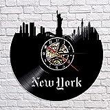 fdgdfgd Reloj de Pared con Disco de Vinilo de Reloj de CD Retro Negro Reloj de Pared con Vista de la Ciudad de Nueva York Reloj de Pared Moderno en 3D Art Deco año Nuevo