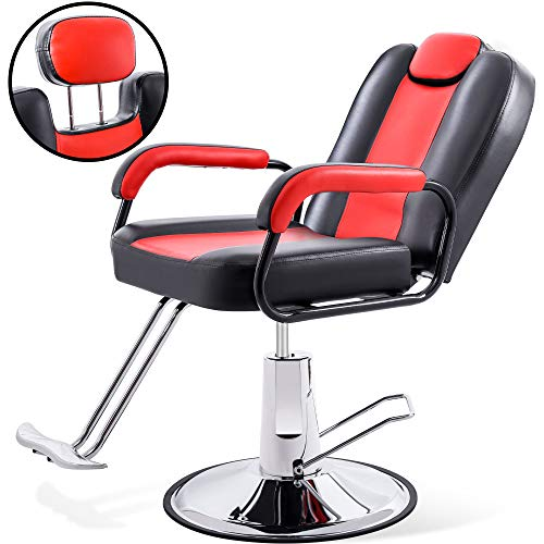 Hydraulic Recliner Barber Chair for Hair Salon with 20% Extra Wider Seat & Heavy Duty Hydraulic Pump, 2021 Upgraded Salon Beauty Equipment (Black & Red)