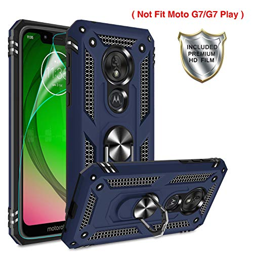 Moto G7 Power Phone Case,Moto G7 Supra Case with HD Screen Protector,Gritup 360 Degree Rotating Metal Ring Holder Kickstand Armor Anti-Scratch Bracket...