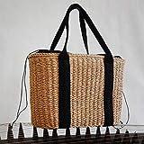 Bolsos de mujer, bolsos de playa de verano, bolsos de mimbre con remaches, bolsos de gran capacidad, bolsos de mujer de paja bohemia