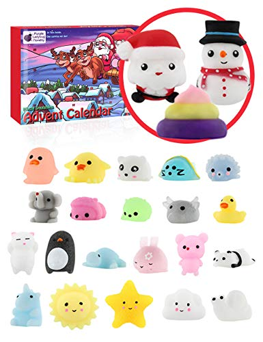 The Original Mochi Squishy Toys Advent Calendar for Kids 2019 Edition, with 24 Different Mochi Squishies Including an Exclusive Large Santa & Snowman! Christmas Countdown Calendars for Girls and Boys!