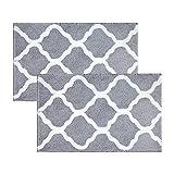 Pauwer Badteppich Set Waschbare Saugfähiges rutschfeste Badematten Badvorleger für Badezimmer, Mikrofaser Duschmatte (Grau, 53x86cm+53x86cm)