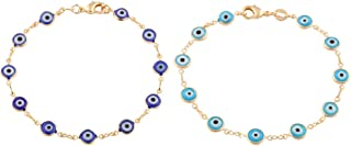 Two Year Warranty Gold Overlay with Navy Blue and Light Blue Mini Evil Eye Style 7.5 Inch Clasp (T-326 + T-328)