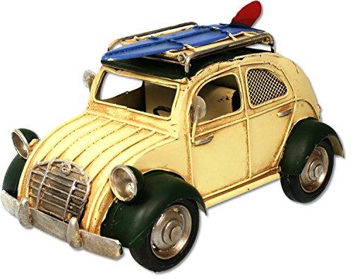 Metall Oldtimer Auto als Ente 20 cm, creme-grün, Bilderrahmen, Spardose
