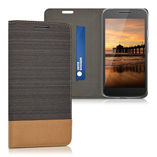 kwmobile Cover Compatibile con Motorola Moto G4 Play - Custodia Flip a Libro in Pelle PU e Tessuto - Stand Case Protettiva con Supporto