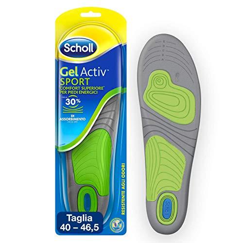 Scholl Gel Activ Sport Einlegesohlen für Herren, für Sportschuhe, mehr Dämpfung und Absorption von Geruch und Schweiß, Größe 40-46.5, 1 Paar (2 Einlegesohlen)