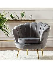 Round shaped Flower chair - Mettle legs - velvet (grey)