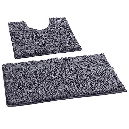 Bathroom Rugs by LuxUrux, Luxury Chenille 2-Piece Bath Mat Set, Soft Plush Anti-Slip Bath Rugs + U...