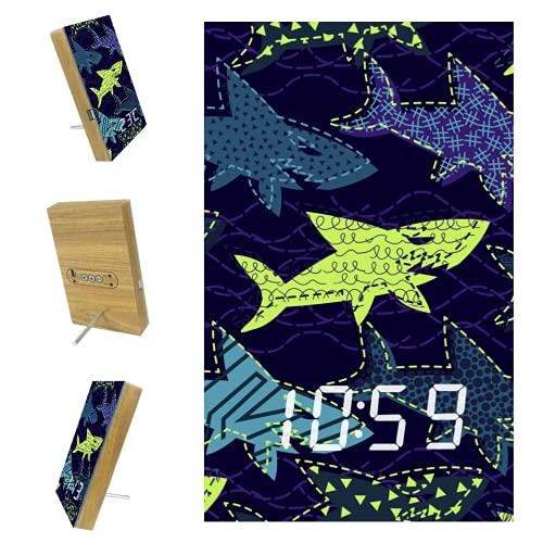 EZIOLY Shark Sea - Reloj despertador digital morado, indicador de tiempo, temperatura LED, resina de madera, USB, funciona con pilas, ahorro de energía para dormitorio, oficina
