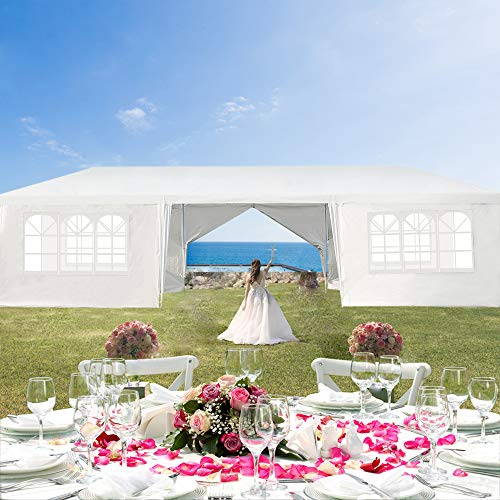 UNCHAIN 10'x30' Outdoor Canopy Tent Heavy Duty Party Wedding Event Tent Sturdy Steel Frame with 8 Removable Sidewalls Waterproof Sun Snow Rain Shelter Gazebo Canopy Tent, White (10'x30' 8 Walls)