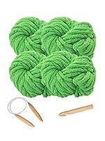 YUYOYE かぎ針編み用スーパーチャンキーブランケットヤーン、20mm丸編み針25mmかぎ針編みフック付きバルキーヤーン, (14-4pack)