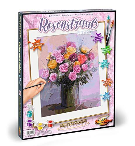 Schipper 609130749 - Malen nach Zahlen - Rosenstrauß in Pastellfarben - Bilder malen für Erwachsene, inklusive Pinsel und Acrylfarben, 40 x 50 cm