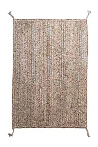Alfombra de Yute Natural (90x60cm.) Rectangular Tribu - Fibra de Yute y Lana, Hecha a Mano. Alfombra salón, pie de Cama, Cocina, jardín + Jarapa Artesanal