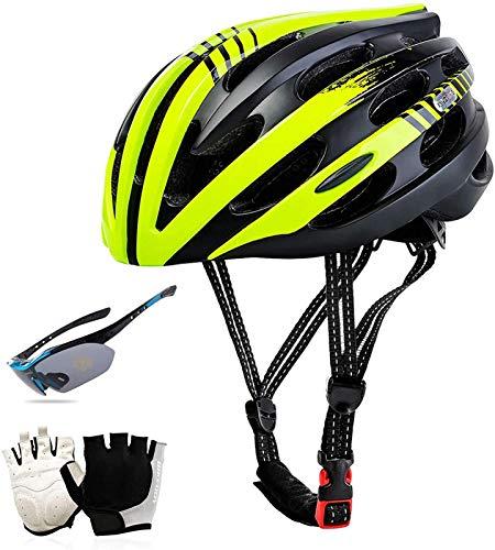 QDY Bicicleta Casco para Bicicleta, Casco para Ciclismo con luz Trasera de Seguridad Gafas Guante Ventilación Ciclismo Casco para Bicicleta de Carretera/montaña/MTB Adultos Hombres y muj