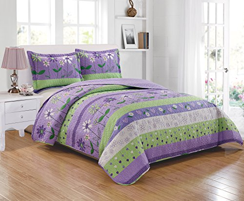 Mk Collection 2pc Twin Size Bedspread Set Purple/Lavender Green White Flower Petals New