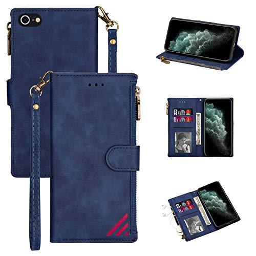 LOLFZ Funda para iPhone 7 Plus, para iPhone 8 Plus, de piel prémium, con tarjetero, cierre magnético, color azul