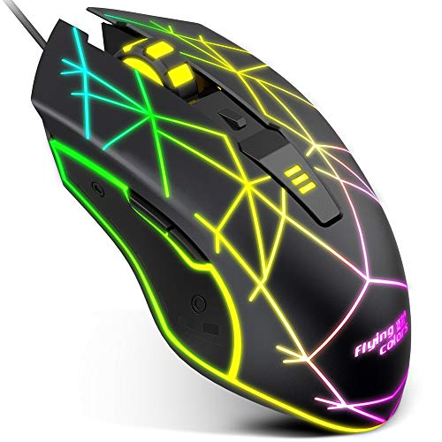VersionTECH. Wired Gaming Mouse, USB Optical Mouse Mice with Colorful LED Lights, 4 Adjustable DPI 1200 to 4800 for PC Laptop Desktop Computer Games & Work