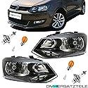 DM Autoteile SET Polo (6R) Halogen Scheinwerfer H4 Links & Rechts 2009-2014 + Birnen SET
