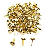 Penta Angel Mini Brads 100Pcs Gold Paper Fasteners Round Brass Metal Pastel Brads for Scrapbooking Crafts DIY Projects, 8x13mm