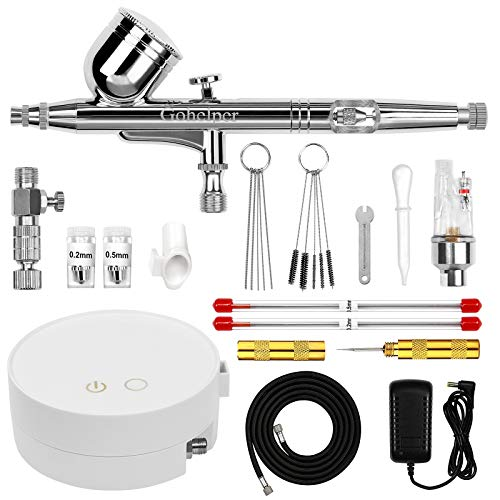Gohelper Automatic Shutdown Airbrush kit with Mini Compressor Dual-Action air Brush Gun for Cake...
