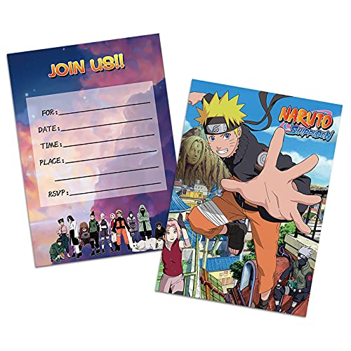 16PCS Anime Invitations Cards Postcard Style for Kids Birthday Party Supplies 5×7Inches