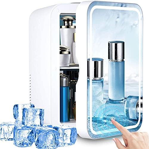 Tragbarer persönlicher Mini Kühlschrank lautlos günstig, 8-Liter-Schminkspiegel Kühlschrank mit LED-Licht für Schlafzimmer, Schlafsaal, Auto, ist eine gute Wahl für Hautpflege und Kosmetik