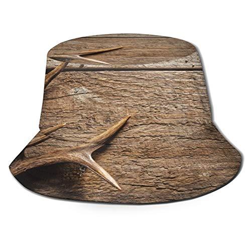 Sombrero de pesca,Las cornamentas de los ciervos sobre la mesa de madera superficie de textura rústica temporada,Senderismo para hombres y mujeres al aire libre sombrero de cubo sombrero para el sol