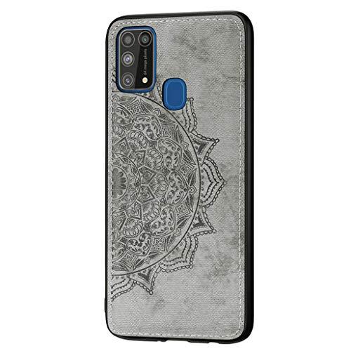 HAOYE Hoesje voor Samsung Galaxy M31 Hoes, Mooi Retro reliëf Mandala patroon & [Geweven doek stof styling] Hoesje, Slank lichtgewicht zachte siliconen TPU schokbestendige Cover., Samsung Galaxy M31, Grijs