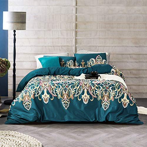 YuHeGuoJi 3 Pieces Duvet Cover Set 100% Egyptian Cotton Teal King Size Vintage Style Bedding Set with Zipper Ties 1 Bohemian Paisley Print Duvet Cover 2 Pillowcases Hotel Quality Silky Soft Durable