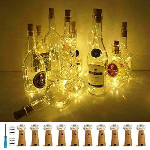 Wine Bottle Lights with Cork, LoveNite 10 Pack Battery Operated LED Cork Shape...