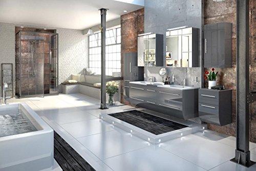 Bad11® - Badmöbelset ZESIRO in Hochglanz grau - 6 teiliges Komplettset mit Doppelwaschbecken inklusive Keramik-Waschbecken, Unterschrank Hochschrank und Hängeschrank bieten viel Stauraum, 2 x Spiegelschrank für extra breite Spiegelfläche, Farbauswahl