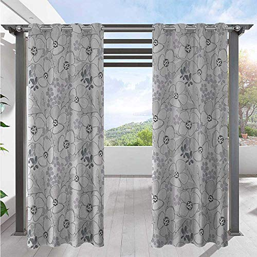 Print Outdoor Curtains Abstract Sketchy Hand Drawn Garden Spring Flowers with Backdrop Waterproof Sun Light Blocking Curtain for Patio, Pergola, Porch, Deck, Lanai, and Cabana Light W84 x L96 Inch