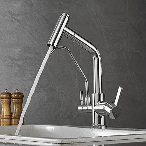 SDKFJ Chrome filtró el Grifo de la Cocina de Agua Pura, extraiga el Tipo 360 ° de rotación del Filtro de Agua del Grifo, 3 vías del lavador de lavamanos del Grifo de la Cocina