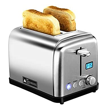 2 Slice Toaster, HOLIFE Extra-Wide LCD Digital Display with 6 Bread Shade Settings, Bagel, Defrost, Reheat, and Cancel Button, Polished Stainless Steel Toaster with Removable Crumb Tray, Silver