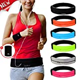 Running Belt Waist Pack with Sports Wristband,Reflective Zippered Runner Pocket Pouch Fanny Pack Adjustable Running Waistband with Key Clip for Fitness Walking Cycling, iPhone 11/X,Galaxy S10 (Black)