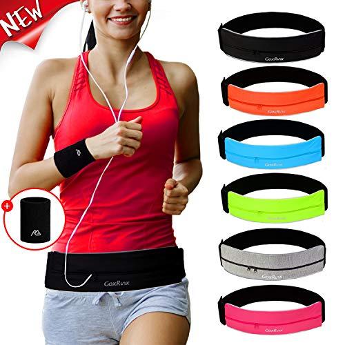 Running Belt Waist Pack with Sports Wristband,Reflective Zippered Runner Pocket Pouch...