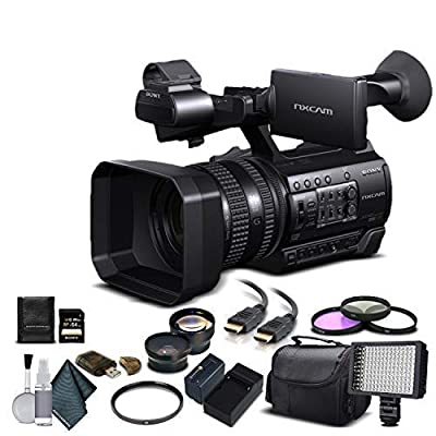 Sony HXR-NX100 Full HD NXCAM Camcorder (HXR-NX100) with 64GB Memory Card, Extra Battery and Charger, UV Filter, LED Light, Case, Telephoto Lens, Wide Angle Lens, and More - Advanced Bundle from Mad Cameras