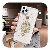 ゴールドシルバー好奇心旺盛なツリー 電話ケース For iPhone 11 Pro Max 8 7 6 Plus ソフトシリコンX XS Max XRスターグリッタークリアカバー-Golden tree 2-For iPhone 6 Plus