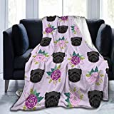 Yulian-ltd Flannel Fleece Blanket 50' x 60', All Season Affenpinscher Sunflower Floral Dog Pattern Throw Blanket for Bed, Couch, Car, Office, Camping