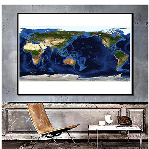 SYBS Mappa satellitare Art Déco del Mondo topografia e batimetria Vernice Spray mappa-40x50cm1 pz Nessuna Cornice