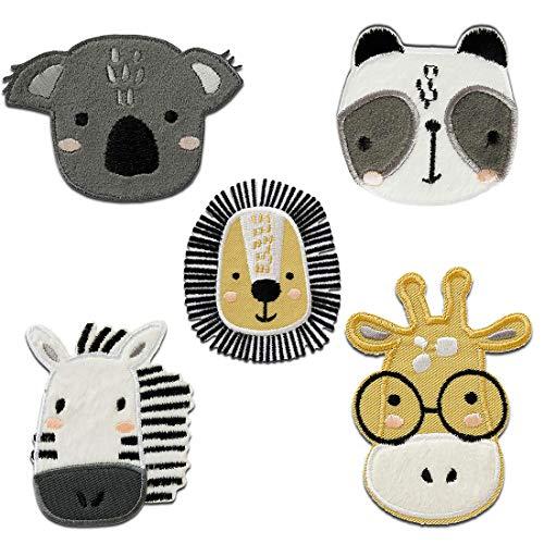 Zoo Set 5 Stück Tier - Aufnäher, Bügelbild, Aufbügler, Applikationen, Patches, Flicken, zum aufbügeln