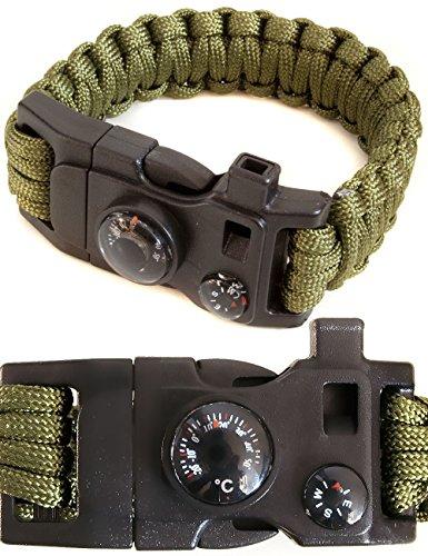 Outdoor saxx® – 15 en 1 Outdoor Paracord Bracelet de Survie |, thermomètre, boussole, sifflet, Vis de tournevis, vis de clé couteau | Vert olive/Vert