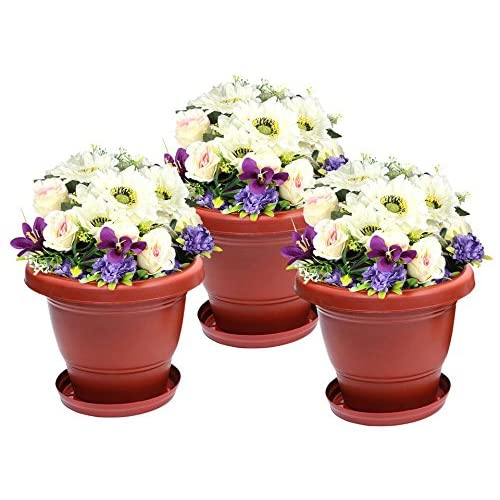 Klassic Gardening Gamla | Planter Pot for Home | Balcony Flowering Pot 10 Inch with Tray (Terracotta Style) (Pack of 3)
