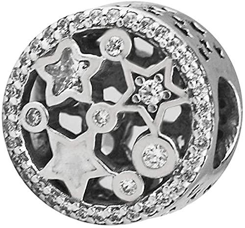 VVHN Pulseras de los Hombres Luces navideñas Estrellas Cuentas caladas auténtica Plata 925 DIY Apta para Pulseras Pandora Originales joyería con dijes de Moda