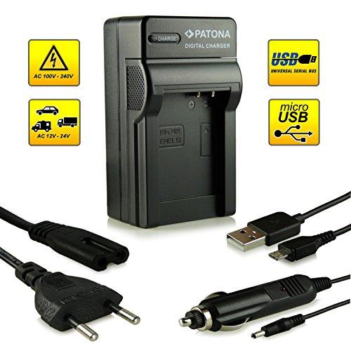 4in1 Caricabatteria EN-EL12 per Nikon CoolPix AW100 | AW110 | P300 | P310 | P330 | S31 | S70 | S710 | S610 | S610c | S620 | S630 | S640 | S800c | S1000pj | S6100 | S6300 | S6400 | S8000 | S8100 | S9100 | S9200 | S9300 | S9400 | S9500 e più…