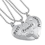 Veuer, collana dell'amicizia con 3 collane Best Friends Forever a forma di cuore puzzle, regalo di Natale per la migliore amica/amica per il compleanno