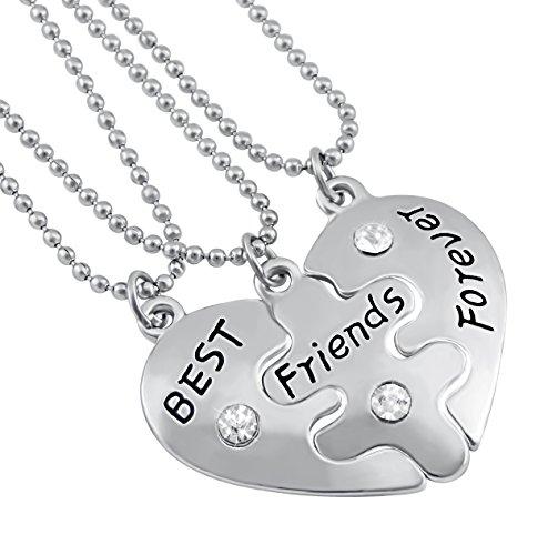 Hanessa Mädchen Schmuck 3 x Freundschafts-Halsketten Best Friends Forever Herz-Anhänger Puzzle Geschenk zum Valentinstag für die Beste Freundin/Freundinnen